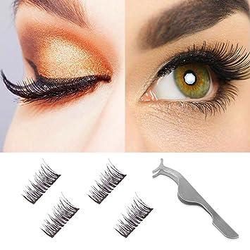 995daa45a75 Amazon.com : Dual Magnetic False Eyelashes-3D Fiber Natural Wispy Lashes  Reusable Fake Eyelash Extensions-Ultra Thin Double Magnet Length:12MM 1Pair  ...