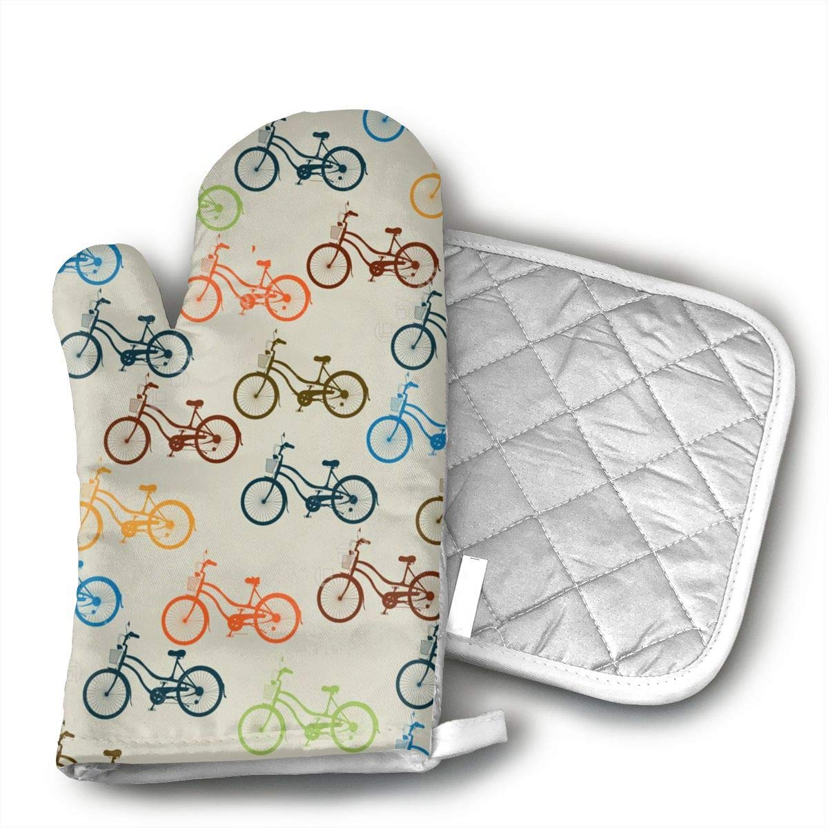 JFNNRUOP Color Bicycle Oven Mitts,with Potholders Oven Gloves,Insulated Quilted Cotton Potholders