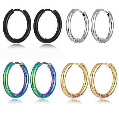 bc8883fcdfaa0 Buy Unrend Unrend 4 Pair Stainless Steel Stud Earrings Hoop Earrings ...