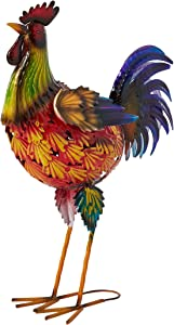 "Sheerlund Products 22"" Standing Metal Rooster Statue Garden & Lawn Ornament, Large, Multicolored"