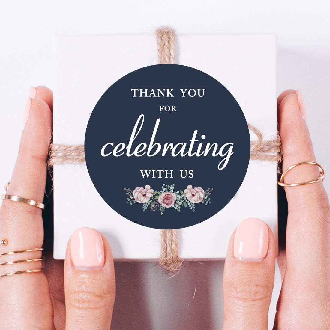 thank you sticker labels 80-pack 2 white floral thank you for celebrating with us label stickers
