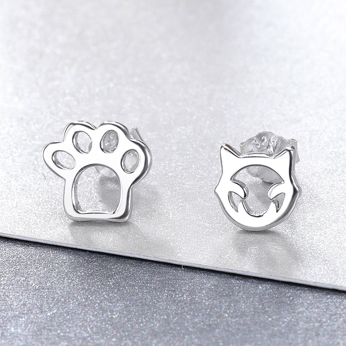 White Gold Plated Paw Stud Earrings for Women Girls,Birthday Christmas Valentines Day Gift. BISAER Cute Cat Earrings Sterling Silver