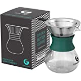 Pour Over Coffee Maker For Perfect Hand Drip Coffee. 1-2 Cup 10z Carafe by Coffee Gator with Permanent Stainless Steel Filter - Never buy another paper filter again -