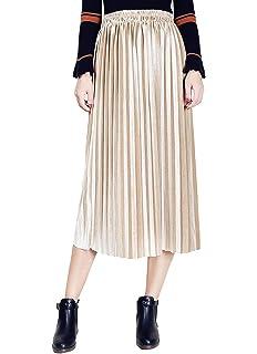 be387dae2f Clarisbelle Women's Pleated Velvet Skirt Premium Metallic Shiny Shimmer  Accordion Elastic High Waist Midi Skirt