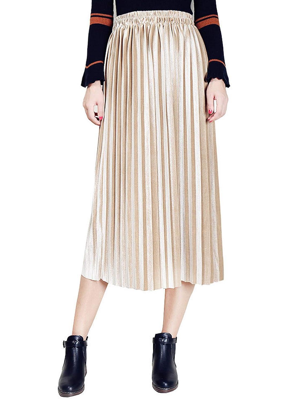 golden Clarisbelle Women's Pleated Velvet Skirt Premium Metallic Shiny Shimmer Accordion Elastic High Waist Midi Skirt