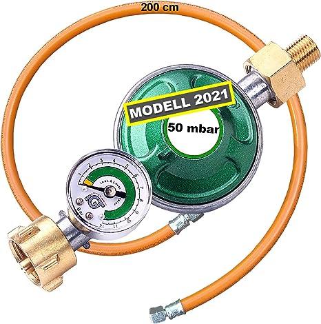 CAGO regulador de presión de Gas 50 mbar con manómetro indicador de llenado Seguridad para mangueras (propano Gas Reductor de presión Camping propano ...