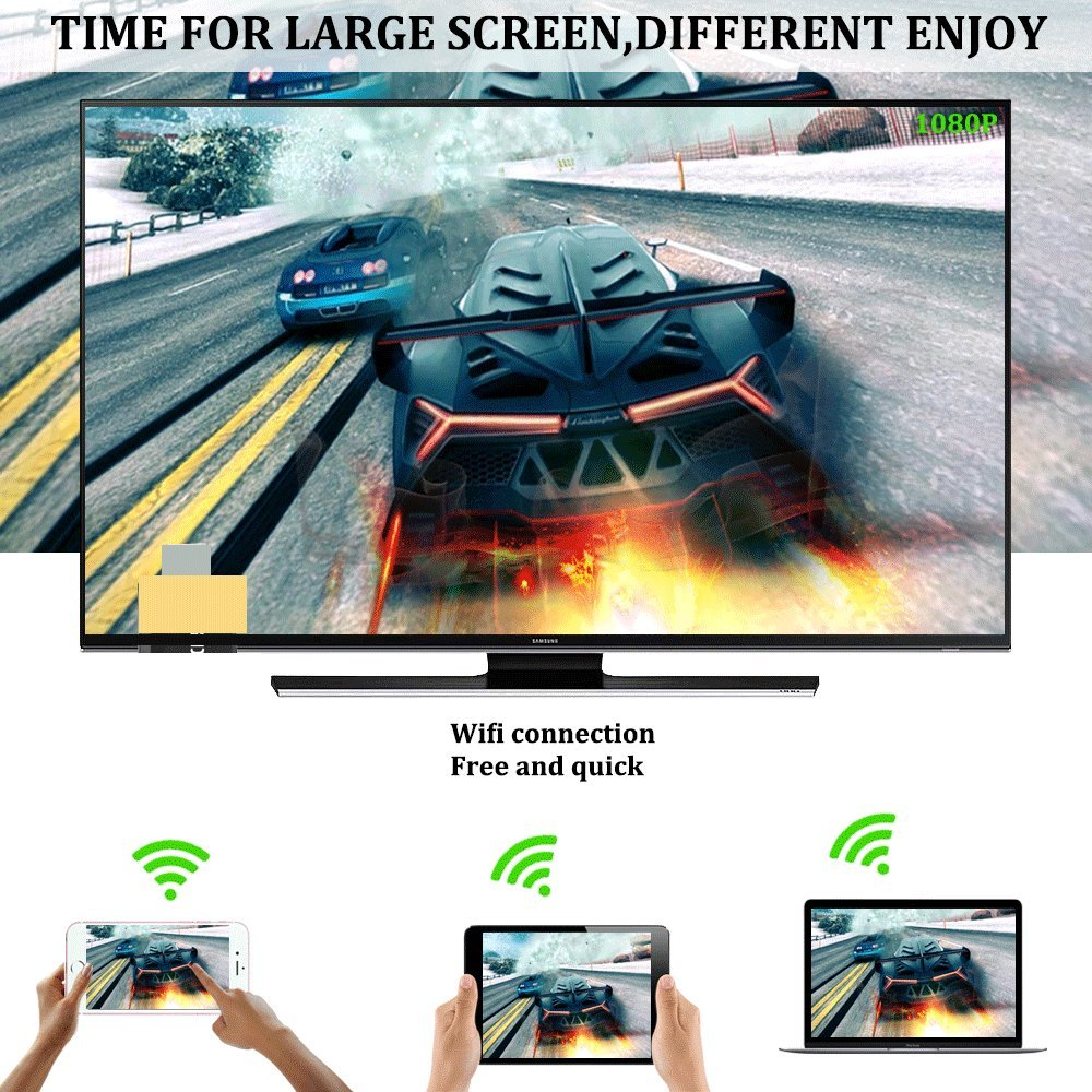YEHUA Anycast Wireless Display Dongle HDMI Miracast Dongle Mirroring Screen from Phone to TV Compatible DLNA AirPlay for Android Smartphone Tablet Apple iPhone iPad by Yehua (Image #4)
