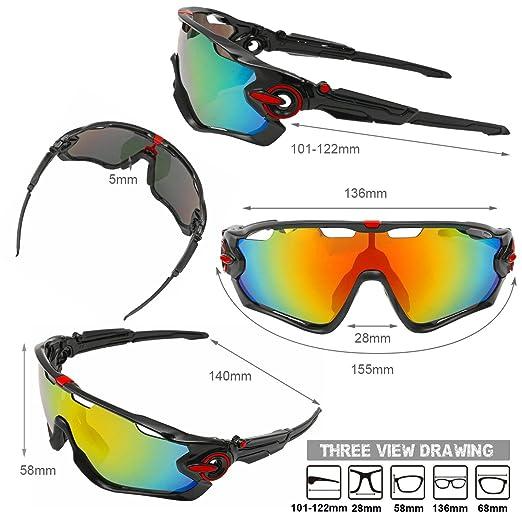 OUTERDO deportes polarizada gafas de sol Ciclismo UV Protección para los ojos resistente al viento gafas con 5 lentes para grabación de deportes al aire ...