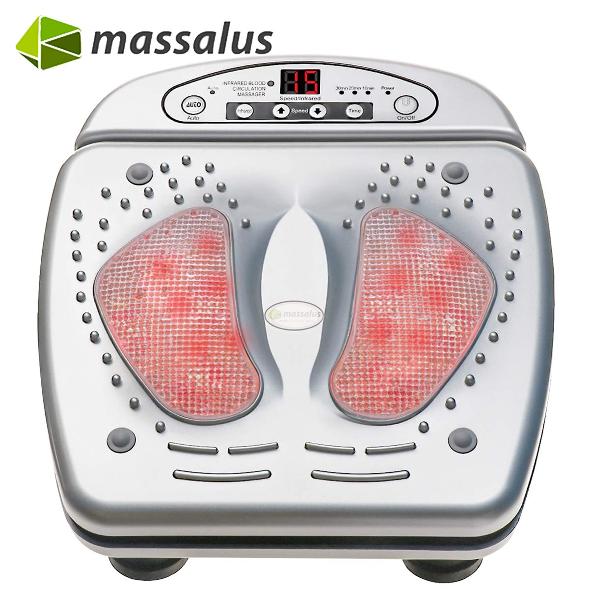 Massalus Foot Massager Multi-Level Setting Vibro Plantar Massager and Built in Infrared Heat Function for Tired Feet, Chronic, Neuropathy and Nerve Pain Silvery
