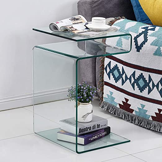 Amazon Com Smartik Clear Glass Side Table Bent Modern Home Office Furniture Small Tables For Living Room Sofa End Table Bedroom 23 9x16 5x14 5 Inch Kitchen Dining