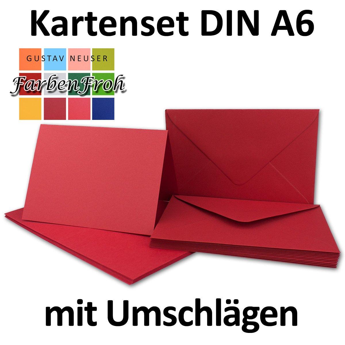 senza scatola 40 Karten-Sets rosso rose Set/di cartoncini pieghevoli formato DIN A6 con buste in formato DIN C6 dotate di bordo da inumidire