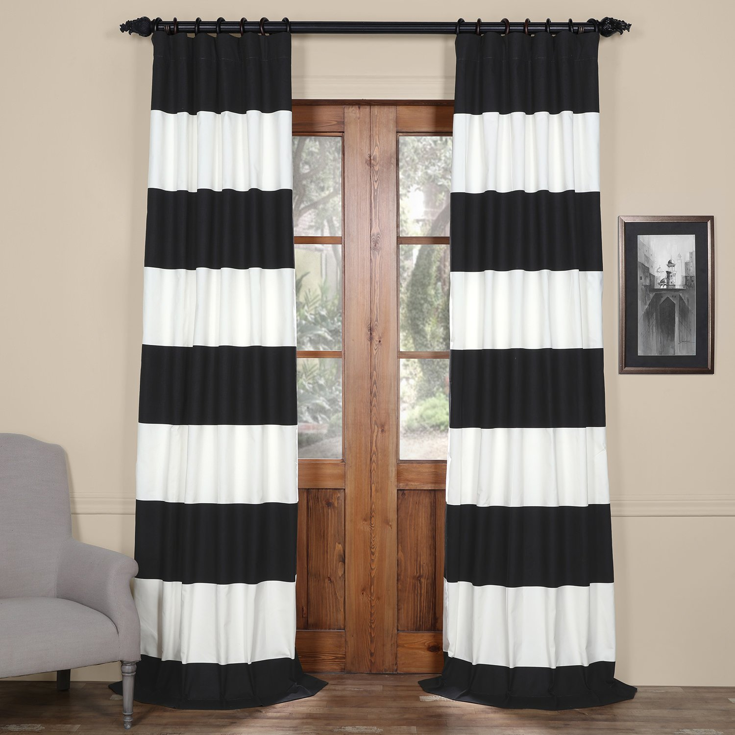 Half Price Drapes PRCT-HS06-96 Horizontal Stripe Cotton Curtain, Onyx Black & Off/White