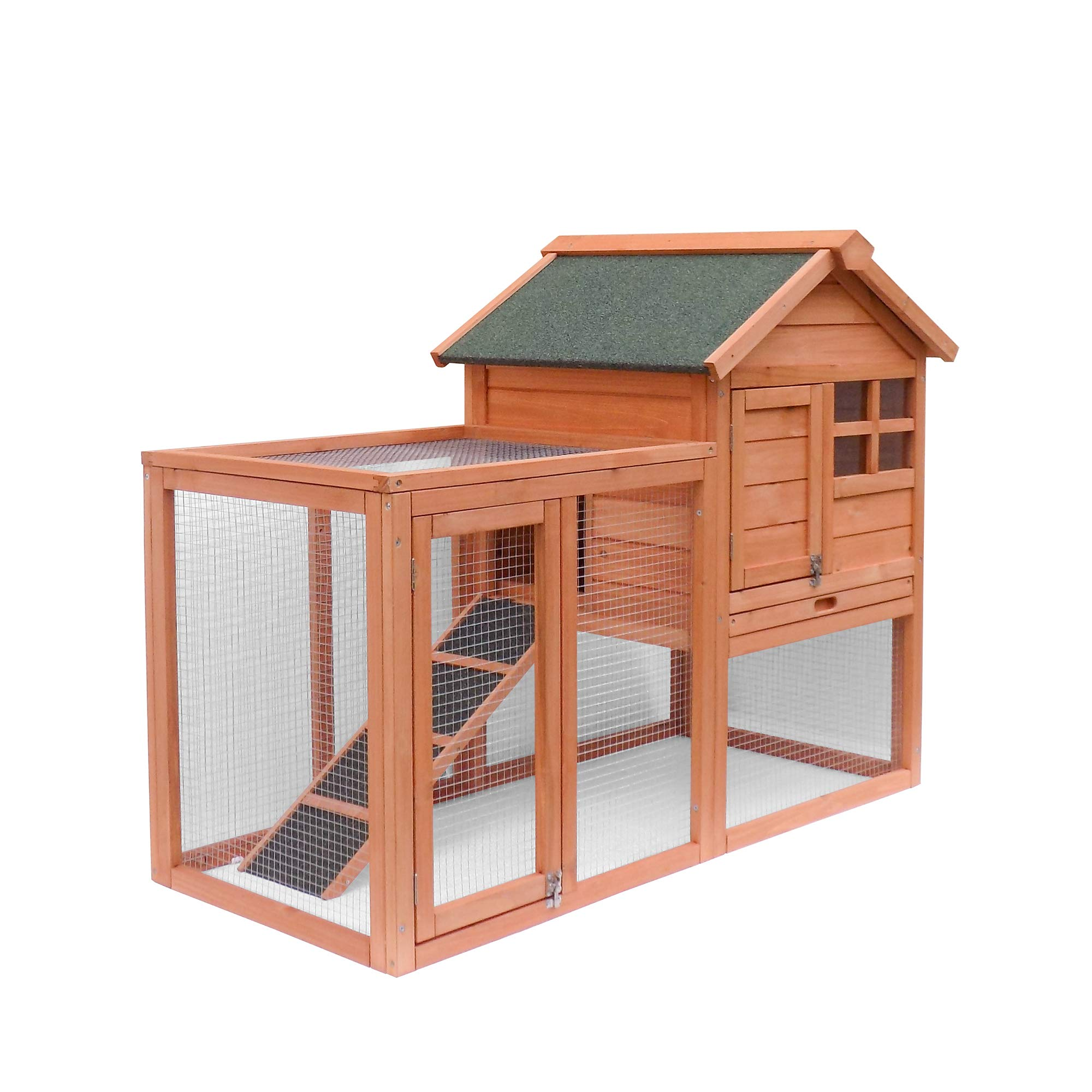 Rhomtree Wooden Pet House Large Chicken Coop Wood Outdoor Garden Backyard Hen House Rabbit Hutch Small Animal Cage (Rabbit Hutch 2)