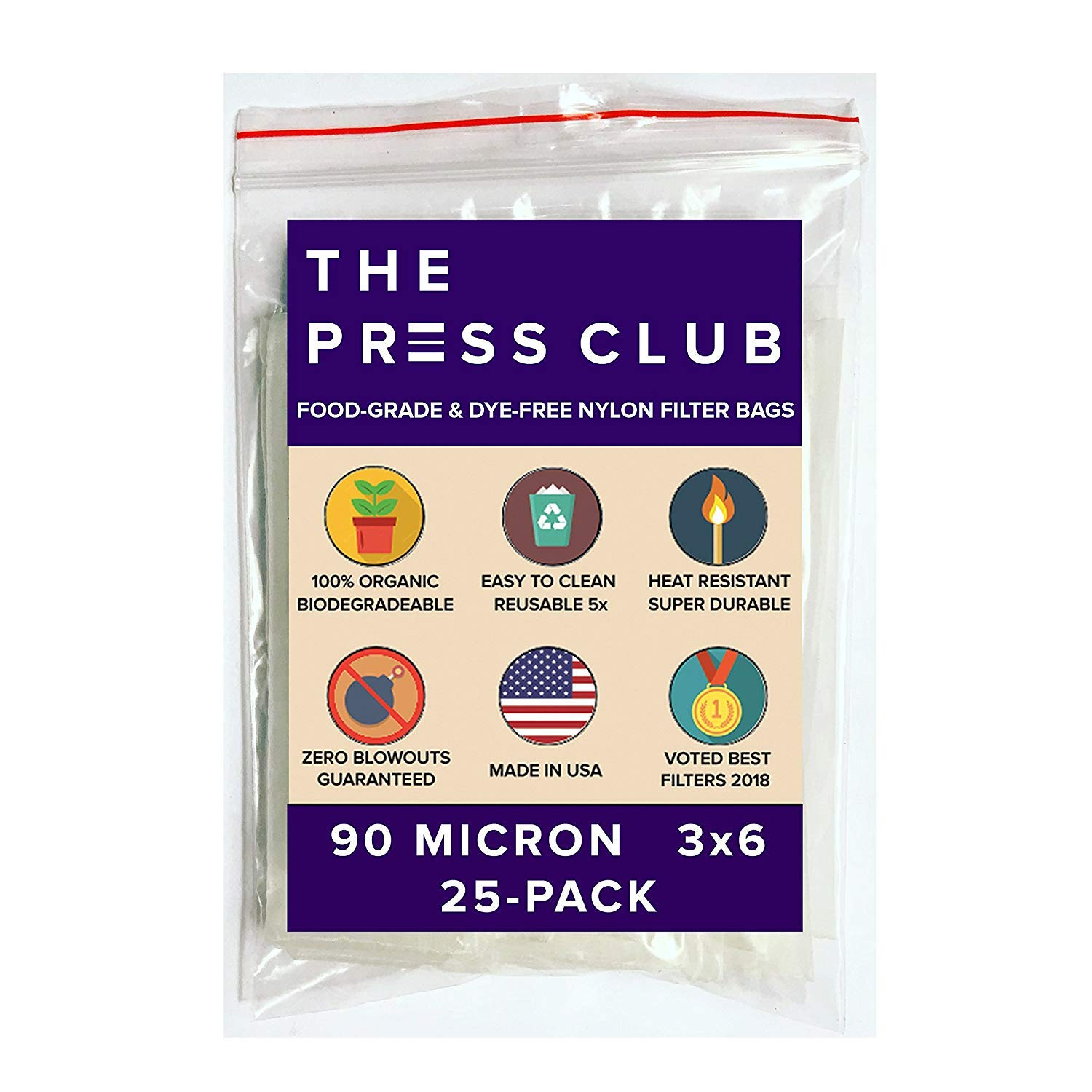90 Micron | Premium Nylon Tea Filter Press Screen Bags | 3'' x 6'' | 25 Pack | Zero Blowout Guarantee | All Micron & Sizes Available by The Press Club