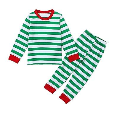 Puseky Baby Boys Girls Striped T-shirt and Pants Homewear Christmas Pajamas  Sets (2 4e16a682a