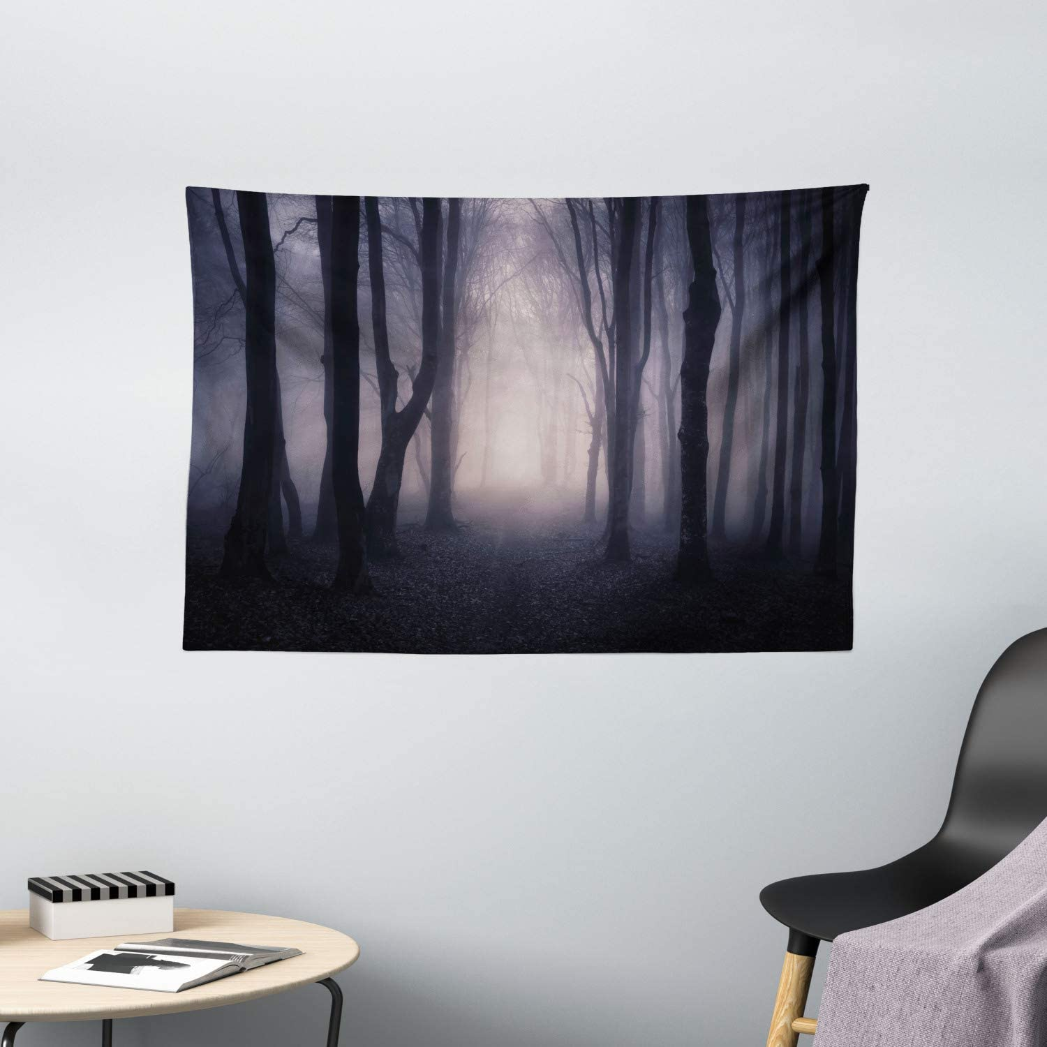 "Ambesonne Forest Tapestry, Path in Dark Deep in Forest with Fog Halloween Creepy Twisted Branches Picture, Wide Wall Hanging for Bedroom Living Room Dorm, 60"" X 40"", Grey Purple"