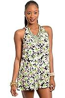 2LUV Women's Sleeveless Low Back Daisy Print Romper Neon Green