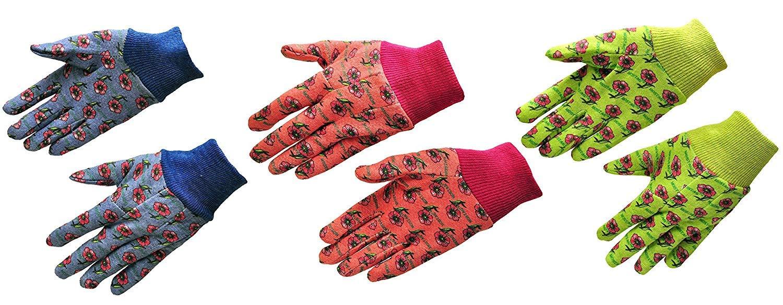 G & F 1823-3 JustForKids Soft Jersey Kids Garden Gloves, Kids Work Gloves, 85 Pairs Green/Red/Blue per Pack (Assorted Cotton 85 Pairs)