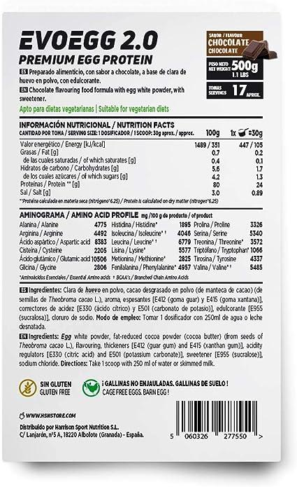 Proteína de Huevo de HSN Evoegg 2.0 | 100% Albúmina de Huevo en Polvo | Egg Protein | Para personas intolerantes a la lactosa y ovo-lactovegetarianos ...