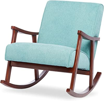 Wooden Rocking Chair Provides Elegant Style And Function. Padded Seat  Accent Chair Suitable For Living
