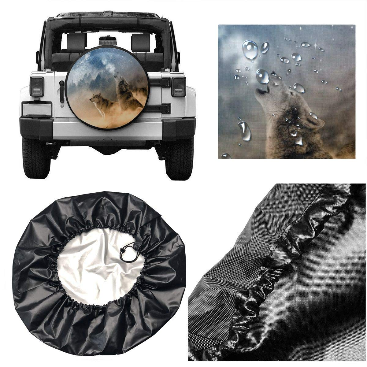 Three Musketeers Wolves Potable Polyester Universal Spare Wheel Tire Cover Wheel Covers for Jeep Trailer RV SUV Truck Camper Travel Trailer Accessories 14,15,16,17 Inch Vbnbvn Reserveradabdeckung