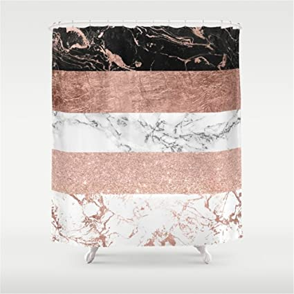 Modern Chic Color Block Rose Gold Marble Stripes Pattern Shower Curtain 60quot