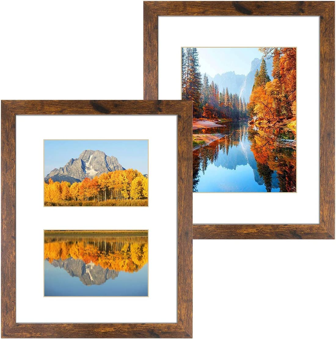 DBWIN 11x14 Picture Frame Rustic Brown Wood Pattern Photo Frame Real Glass Front 2 Pack,Each Frame with 2 Mats,Display 8x10 or Two 5x7 Photos with Mat Wall Decor(LY01-11X14-BR2)