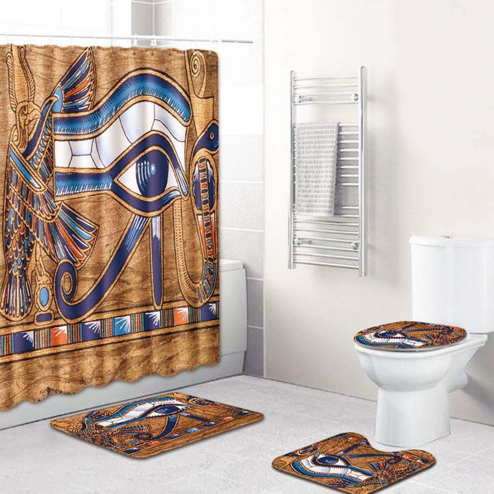 ETH Egyptian Style Shower Curtain Floor Mat Bathroom Toilet Seat Four-Piece Carpet Water Absorption Does Not Fade Versatile Comfortable Bathroom Mat Can Be Machine Washed Durable by ETH