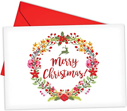 Red Wreath Merry Christmas Set of 10 Illustrated Boxed Note Cards