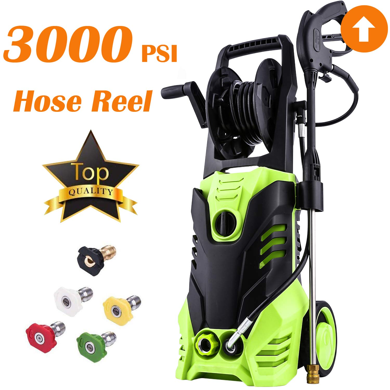 Electric High Pressure Washer 3000PSI 1.8GPM Power Pressure Washer Machine with Power Hose Gun Turbo Wand 5 Interchangeable Nozzles