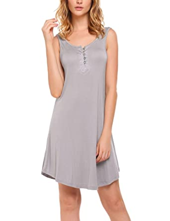 51d1a6dc998 Ekouaer Nightgown Women s Henley Sleeveless Sleep Shirt Button Down  Nightshirt Sleepwear for Breastfeeding S-XXL