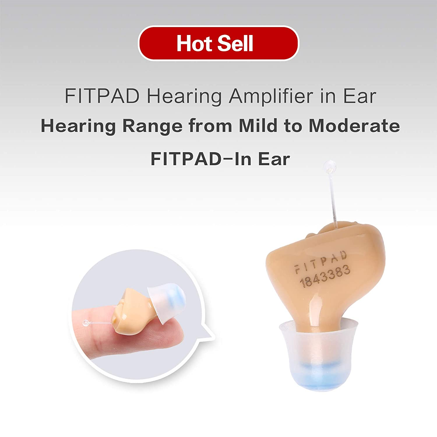 Fitpad Hearing Amplifier Noise Reduction Living Aids Amplifiers Accessories Super Mini Sound Clear Portable With A10 Battery