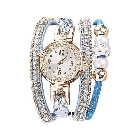 Relojes Pulsera Mujer, Moda Cuero Banda de Cuarzo analogico Redondo Reloj Relojes Kinlene Relojes (A): Amazon.es: Relojes