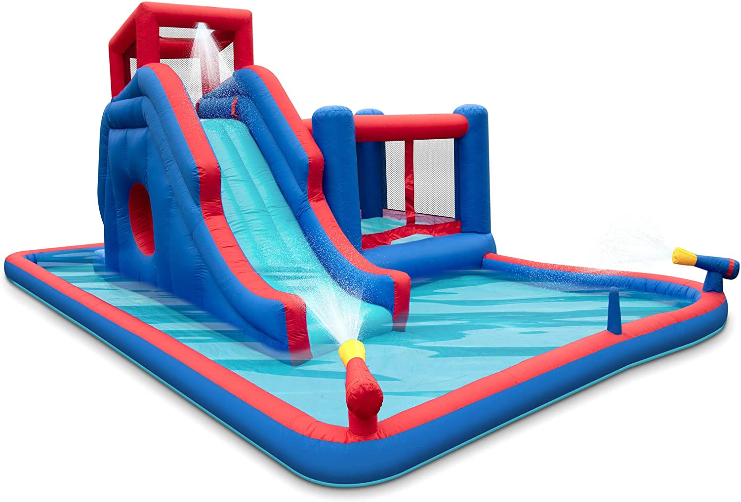 Deluxe Heavy-Duty Inflatable Water Slide Park with Bounce House, Climbing Wall, Slide, Bouncer, Splash Pool