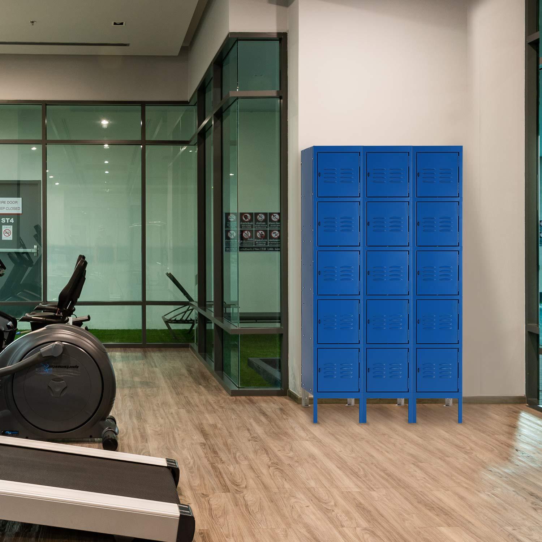 INVIE Metal Locker Steel Storage Locker with 5 Door 5 Tier Personal for Home Office School Gym Cabinet,Gray