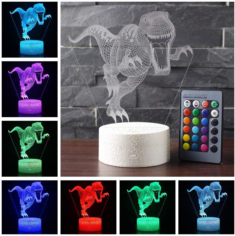 Letop Veilleuse 3D Dinosaure avec t/él/écommande 16 couleurs changeantes pour enfants cadeaux danniversaire lampe de chevet