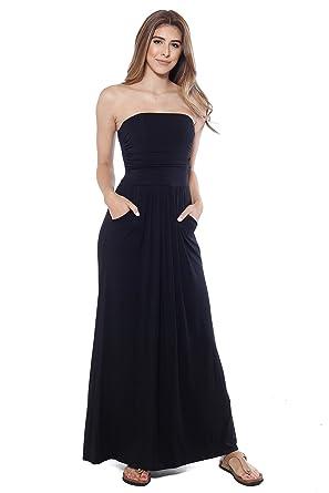 ee30d986b0 Alexander + David A+D Womens Strapless Maxi Dress w Empire Waist and Front