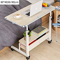 Mobile Sofa Side Table, Movable Snack Table for Coffee Tablet, Rustic End Table with Metal Frame, Rolling Casters with Brakes, Portable Table for Couch Bed, Sofa, Living Room Bedroom Table
