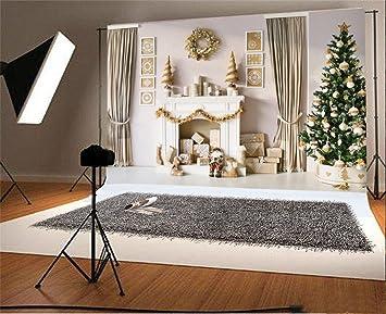 YongFoto 3x2m Vinilo Telón de Fondo Navidad Árbol Regalos Chimenea Garland Calcetines Interior de la Cortina Fondo para Fotografia Fiesta Adulto Retrato ...
