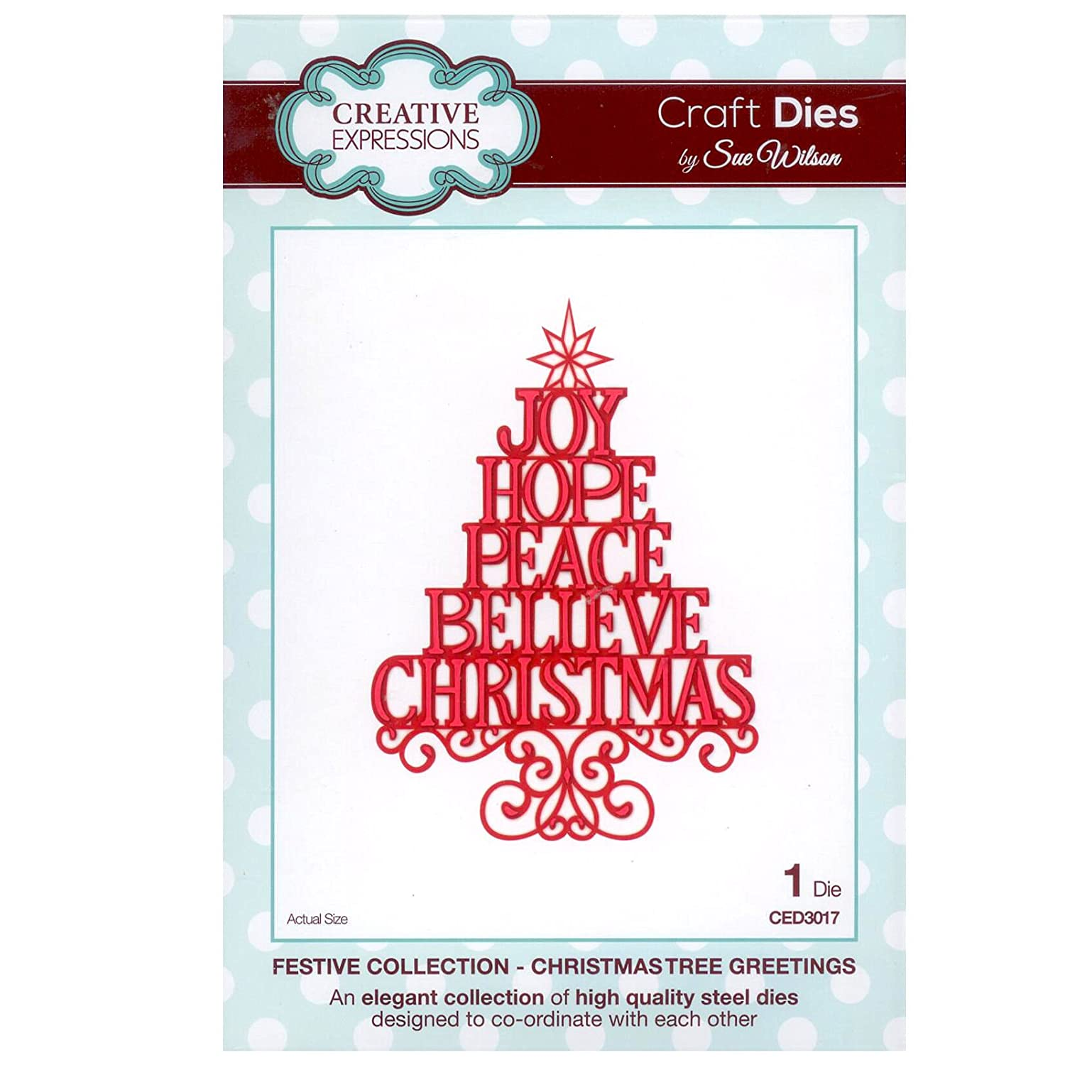 Creative Expressions Festive Collection  Christmas Tree Greetings Die Set