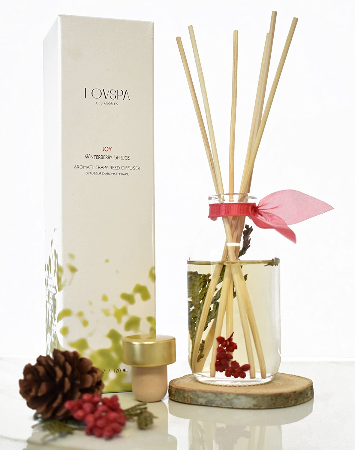LOVSPA Joy Winterberry Spruce Reed Diffuser Sticks Set with Wood Coaster - Cedar, Balsam, Berries and Spice Scented Oils - Rustic Winter Home Decor Made in The USA