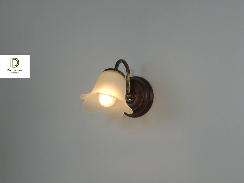 Applique lampada parete classico rustico legno: amazon.it: illuminazione