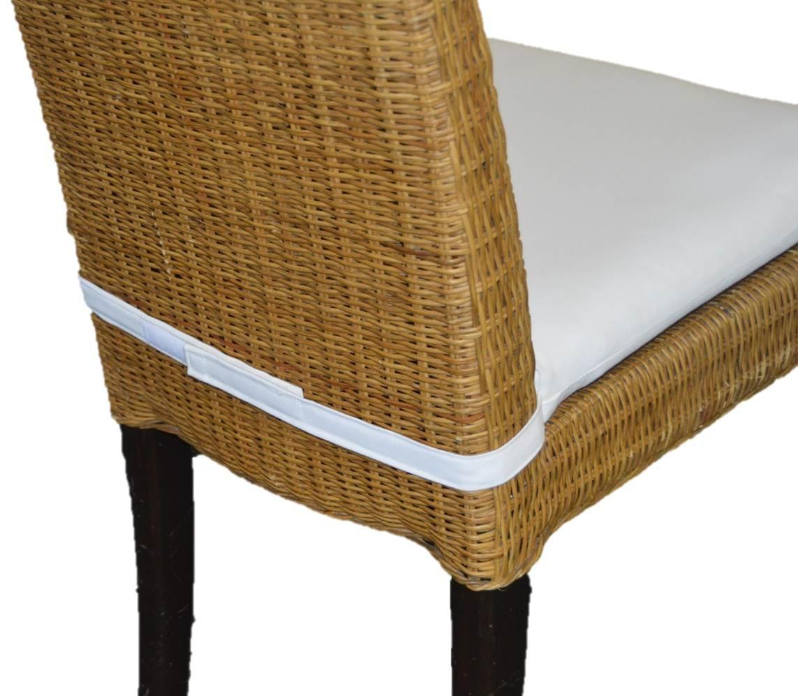 "In / Outdoor Soho Rattan Wicker / Banana Leaf / Seagrass Parson Chair Trapezoid Foam Seat Cushion w/ Velcro Strap - Sunbrella Canvas White - 17"" Across X 15 1/2"" Deep X 14"" Across the Back"
