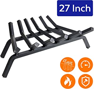 """Fireplace Log Grate 27 inch - 6 Bar Fire Grates - Heavy Duty 3/4"""" Wide Solid Steel - For Indoor Chimney Hearth Outdoor Fire Place Kindling Tool Pit Wrought Iron Wood Stove Firewood Burning Rack Holder"""