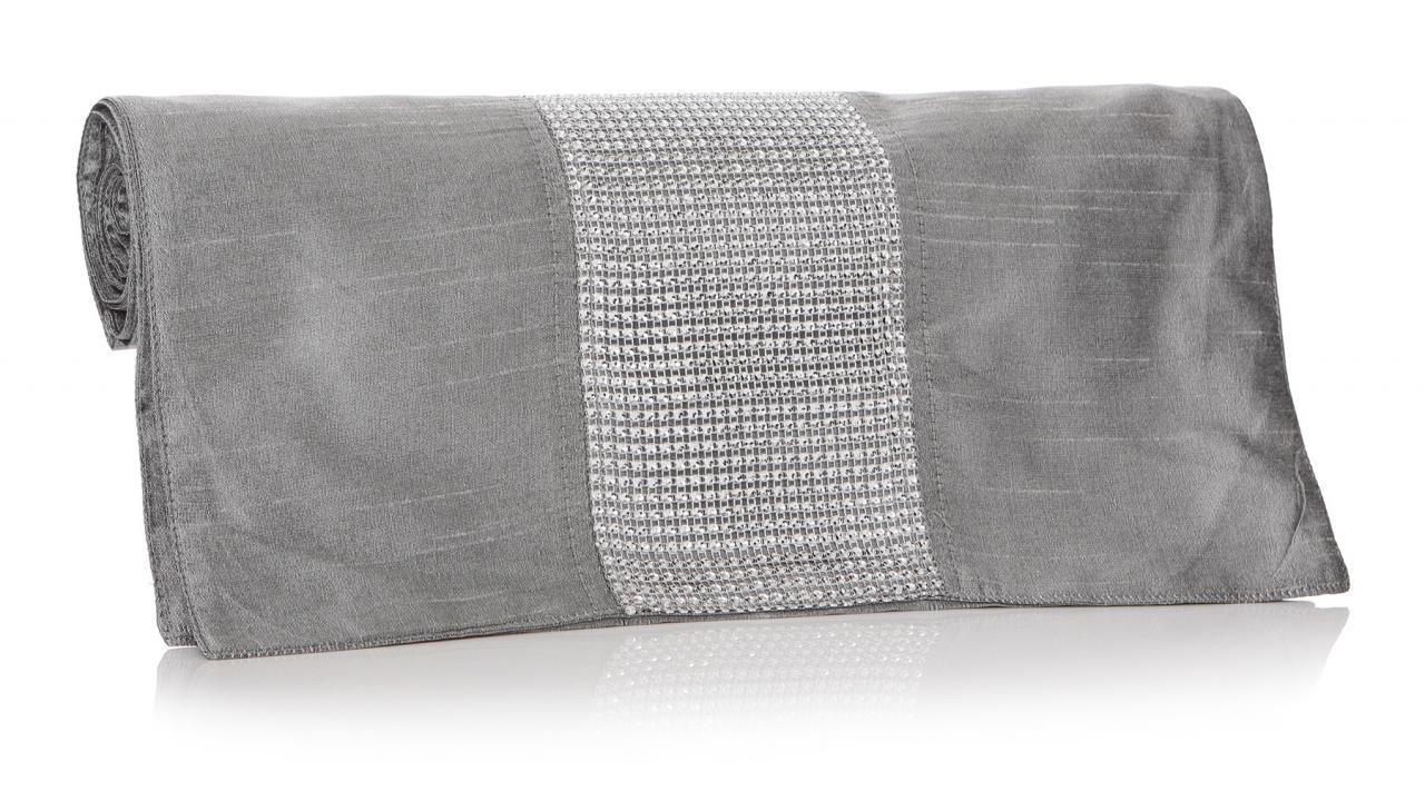 Glamorous brillante gris bordado camino de mesa 200x 40cm Shruti