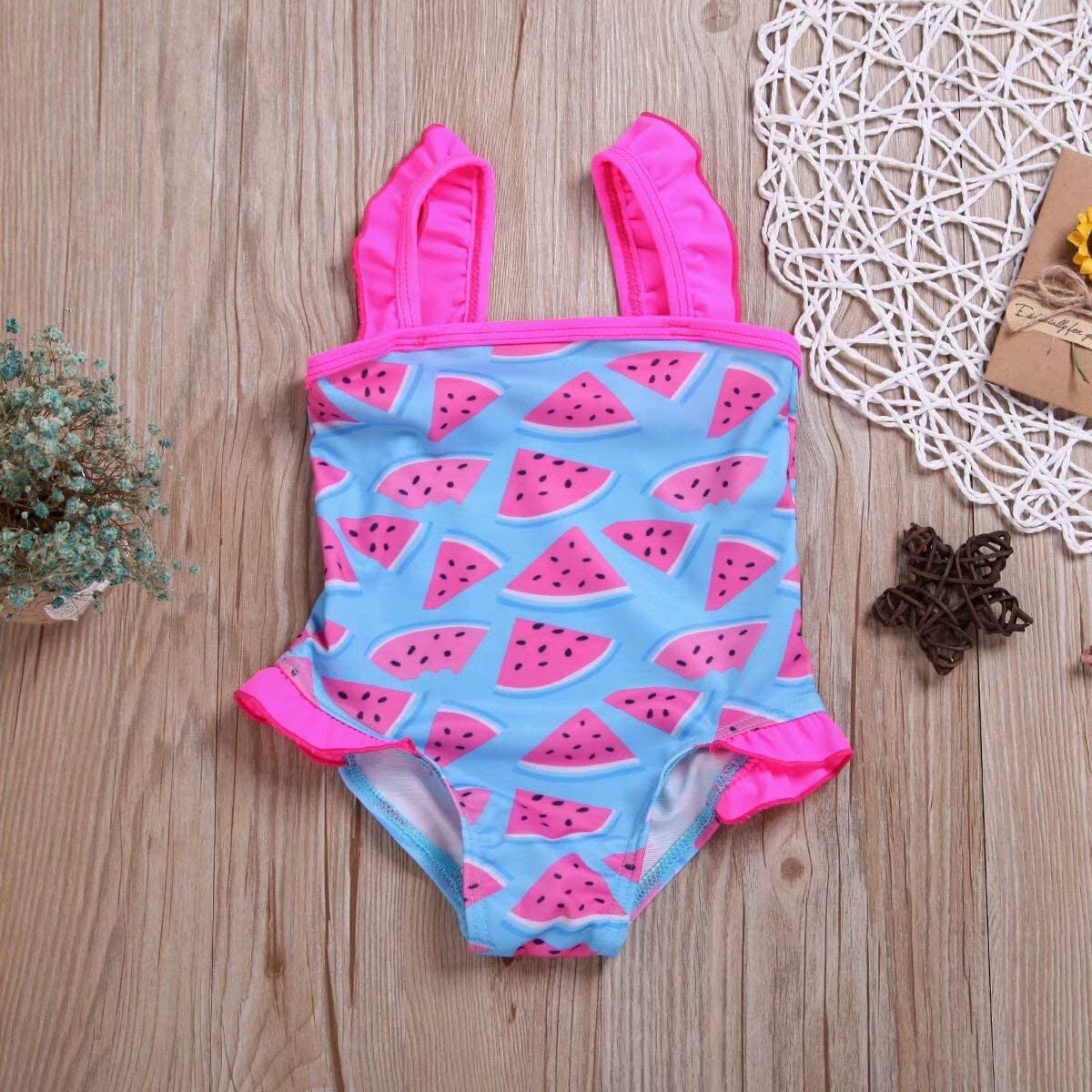 Pink LAMOSKY Toddler Baby Girls One Piece Swimwear Cute Watermelon Printed Sleeveless Swimsuit Infant Ruffle Bathing Suits Size 12-18 months//Tag90