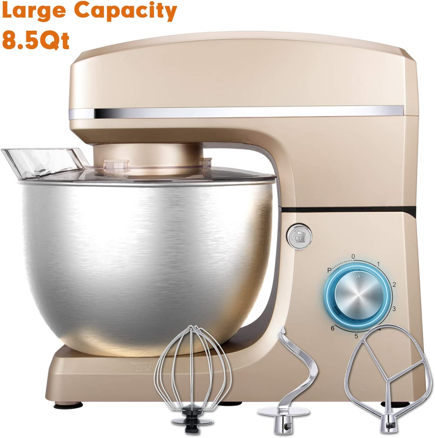 Stand Mixer, Sincalong 8.5QT 660W 6 Speed Tilt Head Electric Mixer with Stainless Steel Bowl, Splash Guard, Dough Hook, Flat Beater, Whisk Dough Kneading Machine, Champagne