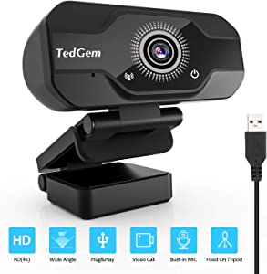 Webcam, TedGem Webcam for Laptop USB, PC Camera Webcam with Microphone for Streaming, Video Calling and Recording, Gaming, Supports Windows, Android, Linux (4K/1080P)