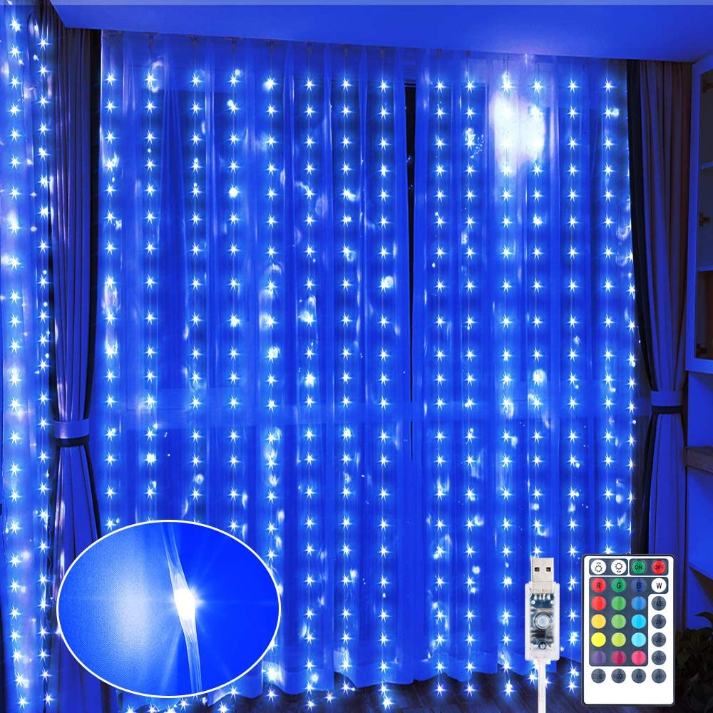 GDEALER 300 LED Window Curtain String Lights 16 Colors 8 Modes Color Changing Lights Waterproof USB Fairy Twinkle Lights with Remote Hanging Wall Lights for Bedroom Christmas Decor 7.4ft x 9.8ft