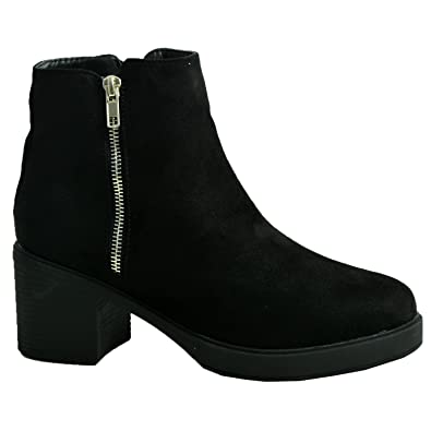 PLATFORM HIGH HEEL BLACK CHELSEA ANKLE SUEDE EFFECT ZIP-UP BOOT SHOES SIZES 4-8